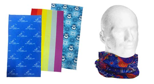 printed neck tubes or custom fitted headwear